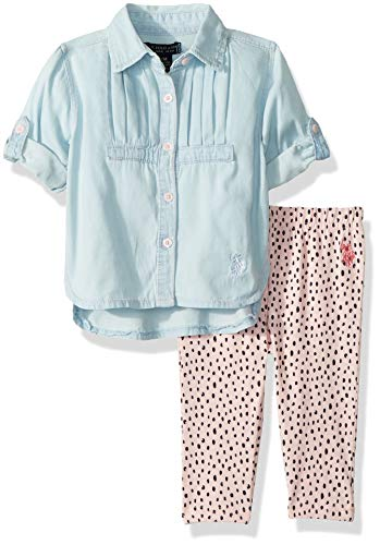 e20357e4c9d5 Layette Sets – U.S. Polo Assn. Baby Girls Fashion Top and Legging Set,  Aline with Knife Pleats Shirt Rose Shadow 12M Offers